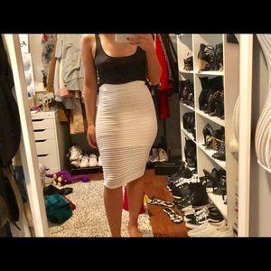 Mesh white high waisted pencil skirt
